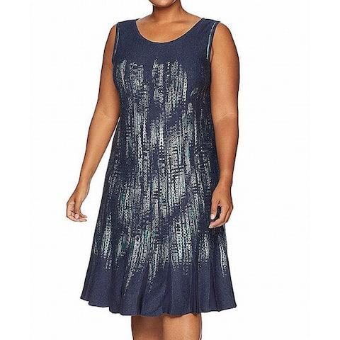 NIC+ZOE Womens Shift Dress Blue Size XL Abstract Print Knit Sweater