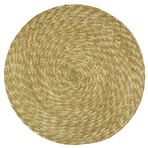 "Set of 4 Beige Circle Patterned Woven Round Place mats 14"" - N/A"