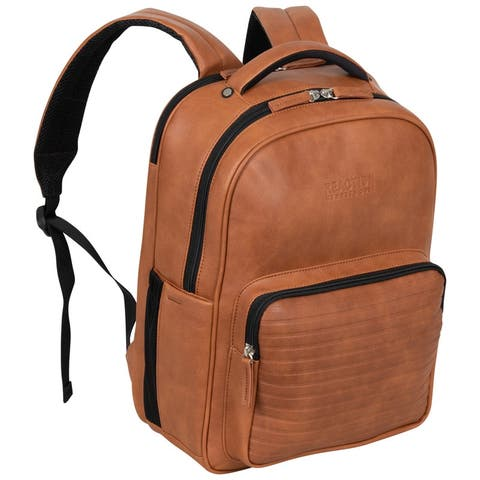"""Kenneth Cole Reaction Travelier Vegan Leather Dual Compartment 15.6"""" Laptop & Tablet Anti-Theft RFID Casual Backpack Bag"""