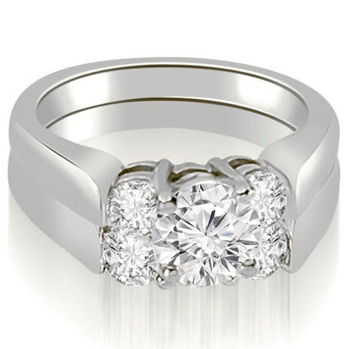1.75 cttw. 14K White Gold Round Cut Diamond Engagement Bridal Set