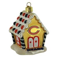 Chicago Bears NFL Blown Glass Gingerbread House Ornament