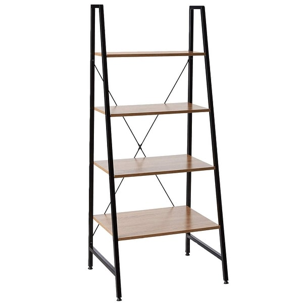Black Steel Frame Ladder Style Wooden Desk with 4 Shelf Bookcase Offex Combo Pack