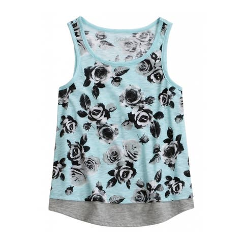 Justice Girls Floral Layered Tank Top