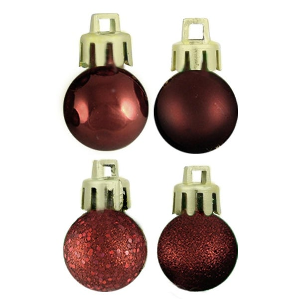 "18ct Burgundy 4-Finish Shatterproof Christmas Ball Ornaments 1.25"" (30mm)"