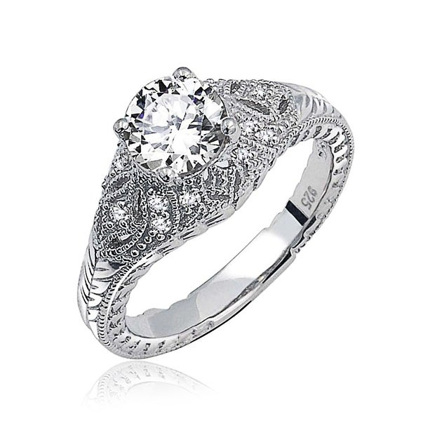 Bling Jewelry Sterling Silver Solitaire Deco Style CZ Dome Engagement Ring
