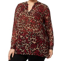 Anne Klein Red Womens Size 1X Plus Animal-Printed Sheer Blouse