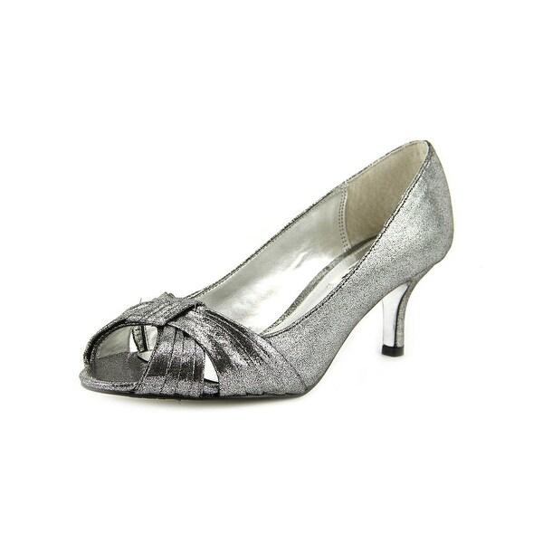 Nina Clique Women Peep-Toe Canvas Silver Heels