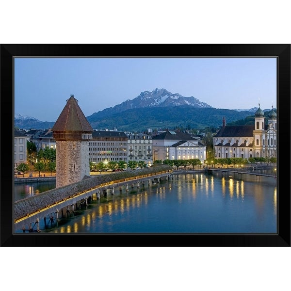 """The Chapel Bridge Kapellbrucke, Switzerland"" Black Framed Print"