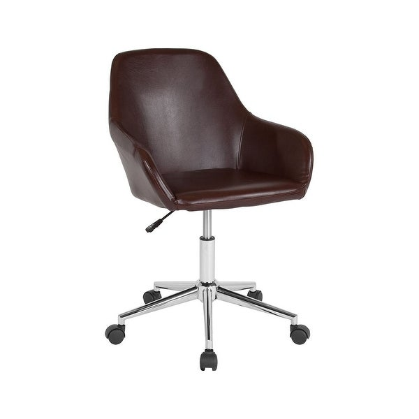 Offex Cortana Home And Office Mid Back Task Chair In Brown Leather