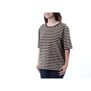 d9e4670cc67ce Womens Beige Striped 3 4 Sleeve Jewel Neck Tunic Top Size S