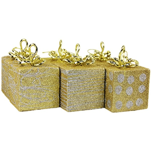 Pack of 6 Gold and Silver Glittered Gift Boxes Christmas Ornaments