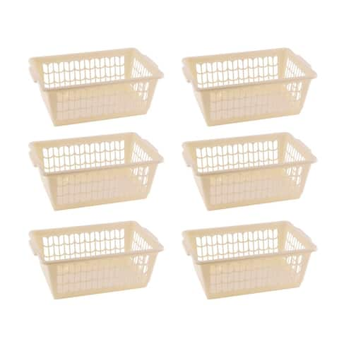 Small Plastic Storage Basket for Organizing Kitchen Pantry, Pack of 6
