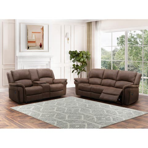 Abbyson Thompson Fabric Manual Reclining Sofa and Loveseat Set