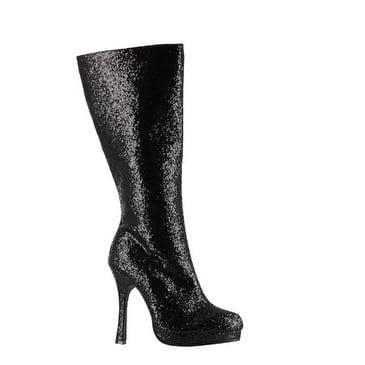 Womens Glitter Knee High Boot - Black Footwear