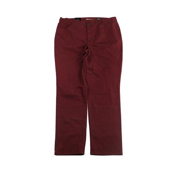 e6df4b907f0 Shop Style Co Plus Size Scarlet Red Tummy-Control Slim-Leg Jeans 24W ...