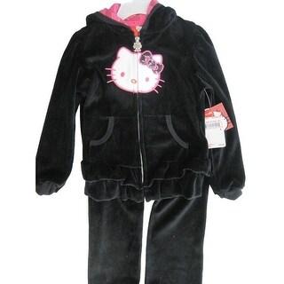 Hello Kitty Little Girls Black Velour Sequin Applique Sweater 2 Pc Pants Set 4-6X