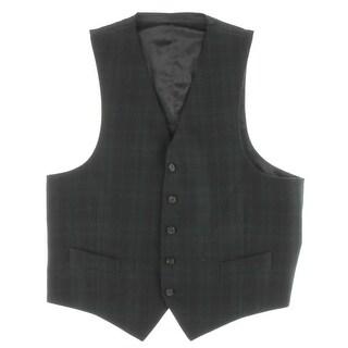 Lauren Ralph Lauren Mens Suit Vest Wool Glen Plaid