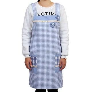 Home Plaid Pattern Lace Trim Two Pockets Waist Tie Cooking Apron Bib Light Blue