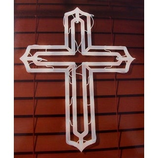 """20"""" Lighted Religious Cross Easter Window Silhouette Decoration"""