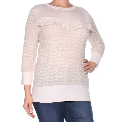 TOMMY HILFIGER Womens Beige Fringed Long Sleeve Crew Neck Sweater Plus Size: L