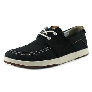 Clarks 1825 Norwin Go Men Moc Toe Canvas Black Boat Shoe