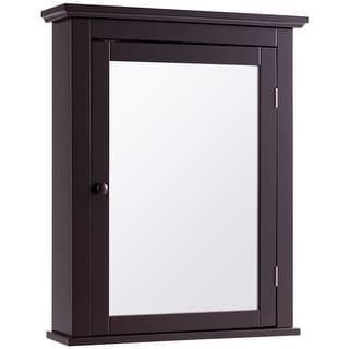 Bathroom Wall Mounted Storage Mirror Medicine Cabinet - Brown