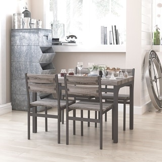 Link to Zenvida 5 Piece Dining Set Rustic Grey Wooden Kitchen Table and 4 Chairs Similar Items in Dining Room & Bar Furniture