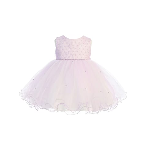 Lilac Criss Cross Pearl Wired Tulle Flower Girl Dress Baby Girls