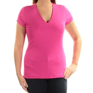 INC Womens Pink Short Sleeve V Neck Top  Size: L
