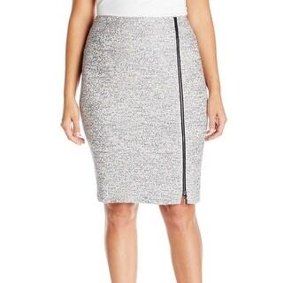 Kasper NEW Gray Frost Womens Size 24W Plus Zip-Front Tweed Pencil Skirt