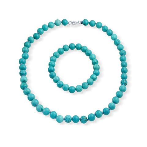 Enhanced Turquoise 9mm Ball Beads Strand Necklace Stretch Bracelet Set For Women Silver Plated Brass Clasp