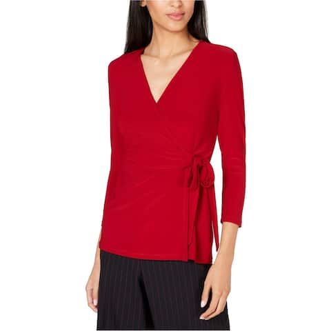 Anne Klein Womens Side Tied Wrap Blouse, red, XX-Small