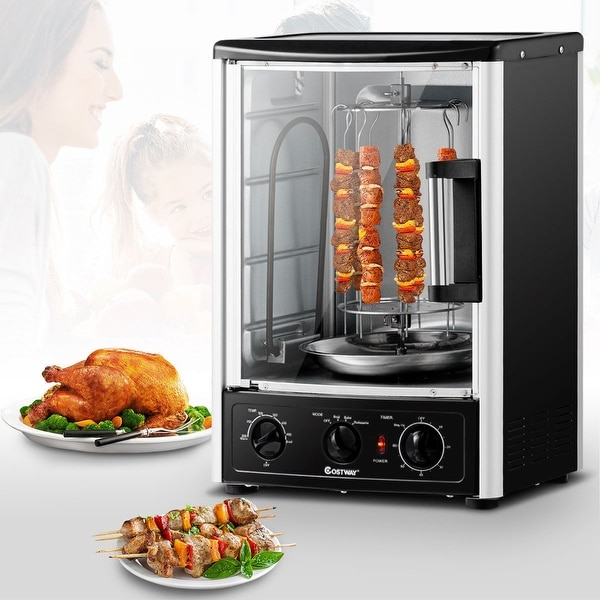 Costway Vertical Rotating Rotisserie Oven Grill Shawarma Machine Kebob Skewer Roaster - Black