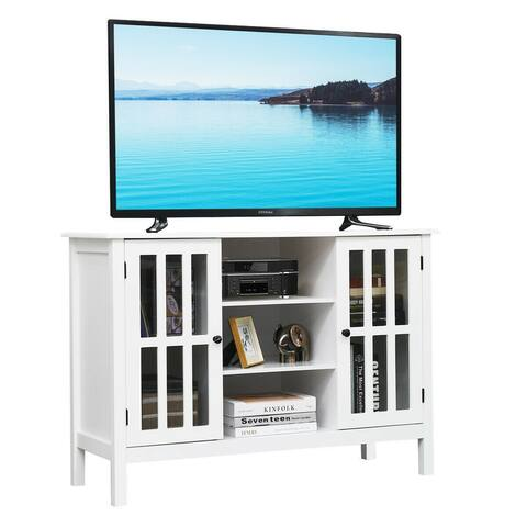 Gymax Wood TV Stand Storage Console Free Standing Cabinet Holds Up To