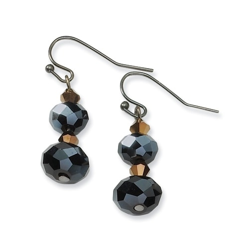 Black IP Black Crystal Post Drop Earrings