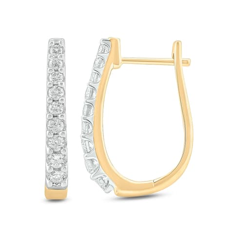 Cali Trove 10KT Yellow gold with 1/2 ct TDW Hoop Earring.