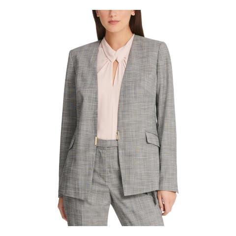 DKNY Womens Gray Plaid Blazer Jacket Size 14