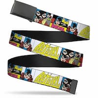 Blank Black Buckle Batgirl Panels Yellow Pink Webbing Web Belt