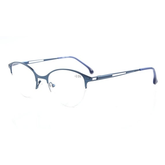 Eyekepper Quality Spring Hinges Half-Rim Cat-eye Style Reading Glasses Blue +4.00