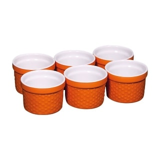 Stoneware Hobnail Orange Ramekin Mini Pots - 4 Ounce - Set Of 6 - Home Essentials