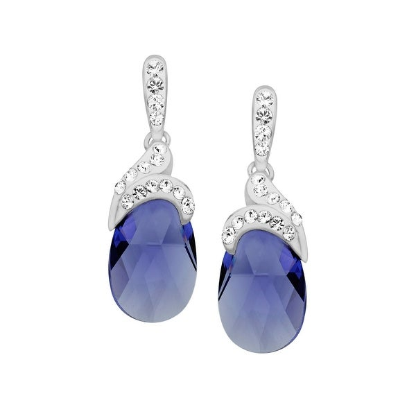 Crystaluxe Drop Earrings with Lavender Swarovski elements Crystals in Sterling Silver