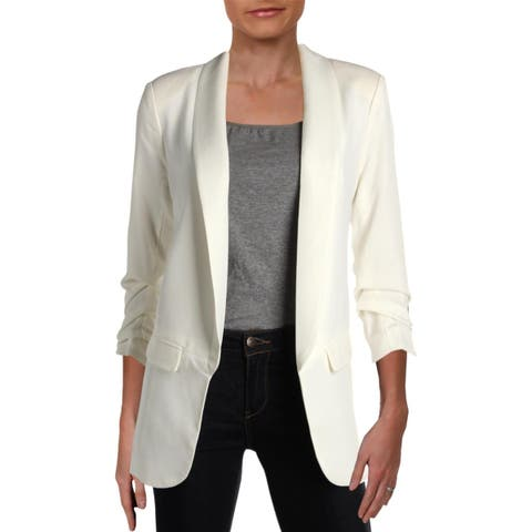 Aqua Womens Open-Front Blazer Office Rouched Sleeves - S