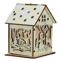 """3.75"""" Lighted Laser Cut Wooden House with Snowman Hanging Christmas Ornament - brown"""