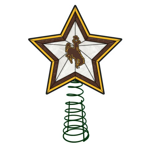 """10"""" Lighted Yellow and Brown Star NCAA Wyoming Cowboys Christmas Tree Topper - N/A"""