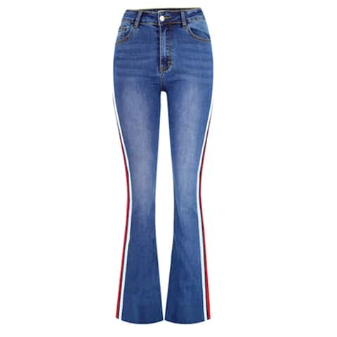 High Waist Stretch Denim Flared Pants Stitching Two-Color Webbing