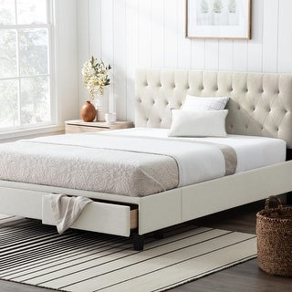 Brookside Anna Upholstered Storage Bed with Drawers (Cream - California King)