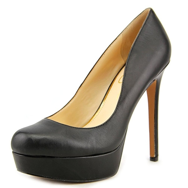 Jessica Simpson Sandrah Women  Open Toe Leather Black Platform Heel