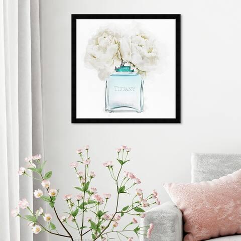 Oliver Gal 'Dawn Morning Bouquet Aquamarine' Fashion and Glam Wall Art Framed Print Perfumes - Blue, White