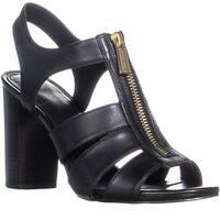Michael Kors Damita Sandal Block Heel Front Zip Sandals, Black