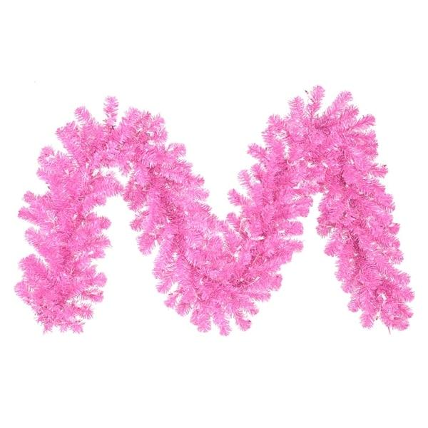 """9' x 12"""" Pre-Lit Hot Pink Artificial Christmas Garland - Pink Lights"""